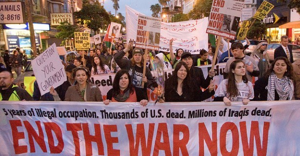 Anti-war protesters march in San Francisco in 2008.