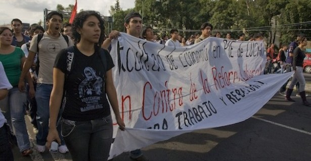 Mexican citizens protest labor 'reform'