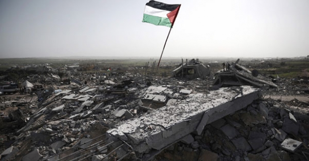 Palestinian flag rubble