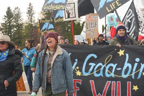 On Indigenous People's Day, Anishinaabeg Leaders March Against Enbridge's $7.5 Billion Oil Pipeline