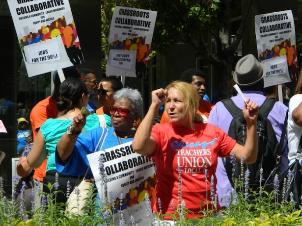 b63cc1d34 Union teachers and community members demanded TIF taxpayer money go to  schools and parks, not multi-million-dollar downtown developments, ...