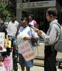 Carolyn Hill speaks at a June 15, 2012 protest at the Philadelphia Department of Human Services.