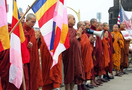 Monk protesters
