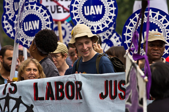 Union members rally during the 2014 People's Climate March. (maisa_nyc / Flickr)