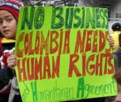 Colombia FTA protest