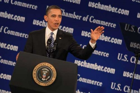 President Barack Obama speaks at the U.S. Chamber of Commerce on February 7 in Washington, D.C. He talked about the importance of working together on job creation and growing the economy. (Photo by Mark Wilson/Getty Images)