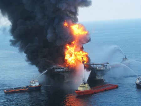 ire boats battle the fire on April after a massive explosion on the offshore oil rig Deepwater Horizon, off the coast of Louisiana. The rigs contractor, BP Exploration and Production, has a history of safety violations.  (Photo by U.S. Coast Guard via Getty Images)