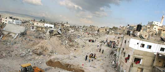 The ravaged landscape of the Jenin refugee camp.